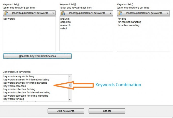 Organic keywords research combination for generate keywords phrase